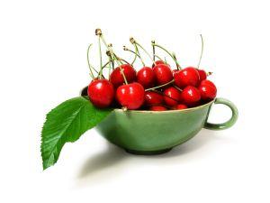 vaso de cerezas